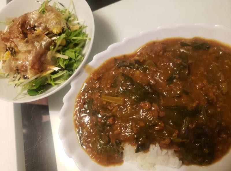 ポパイカレー+水菜とツナのサラダ