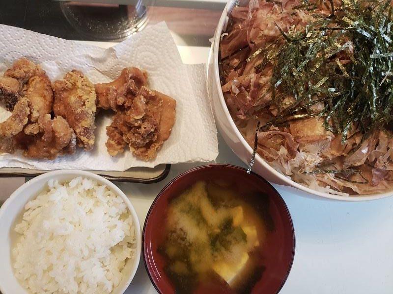 鶏のから揚げ+大根サラダ