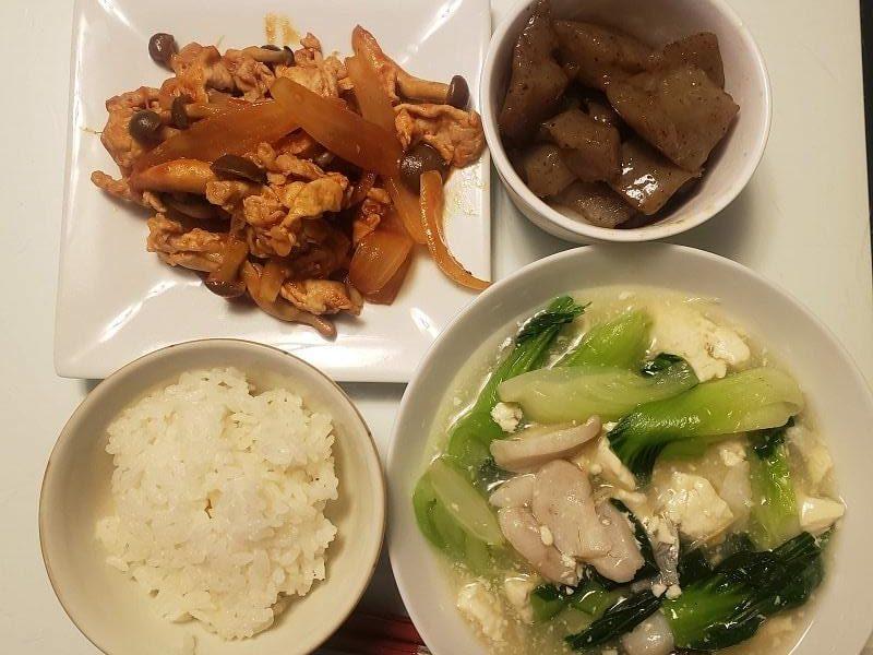 豚肉のケチャップ炒め+タラと青梗菜の豆腐あんかけ+ピリ辛こんにゃく