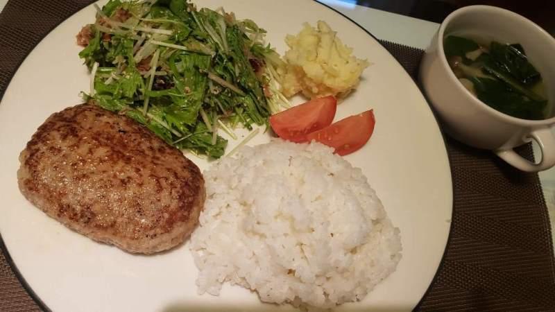 チーズインハンバーグと水菜のサラダの献立レシピ