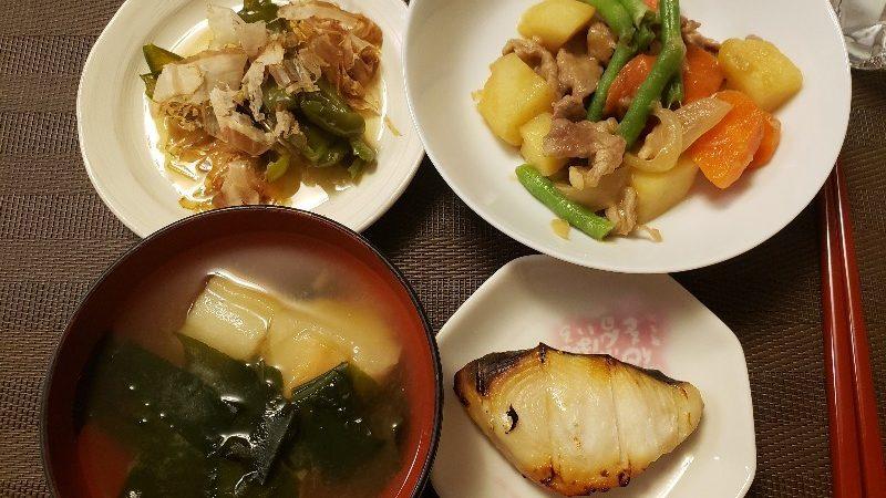 【4人分626円/25分】焼き魚+肉じゃが+ピーマンのレンチン煮びたし