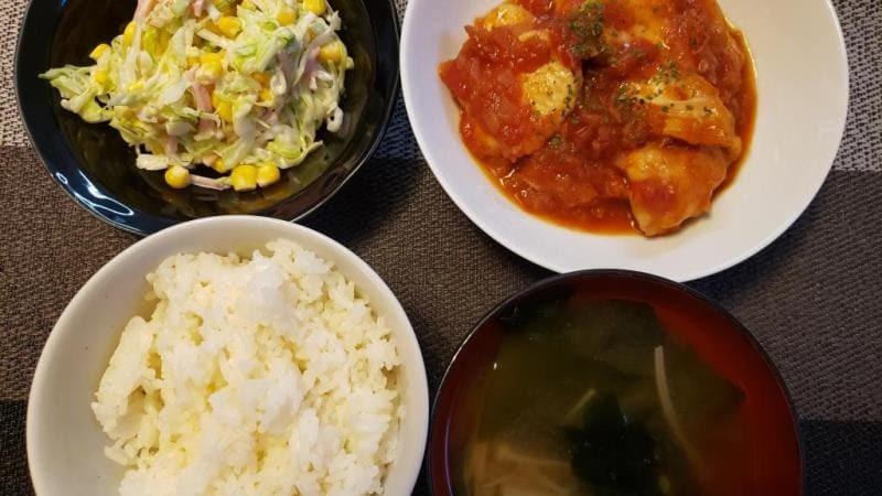 【5人分542円/20分】鶏ムネ肉のトマト煮+コールスローサラダ
